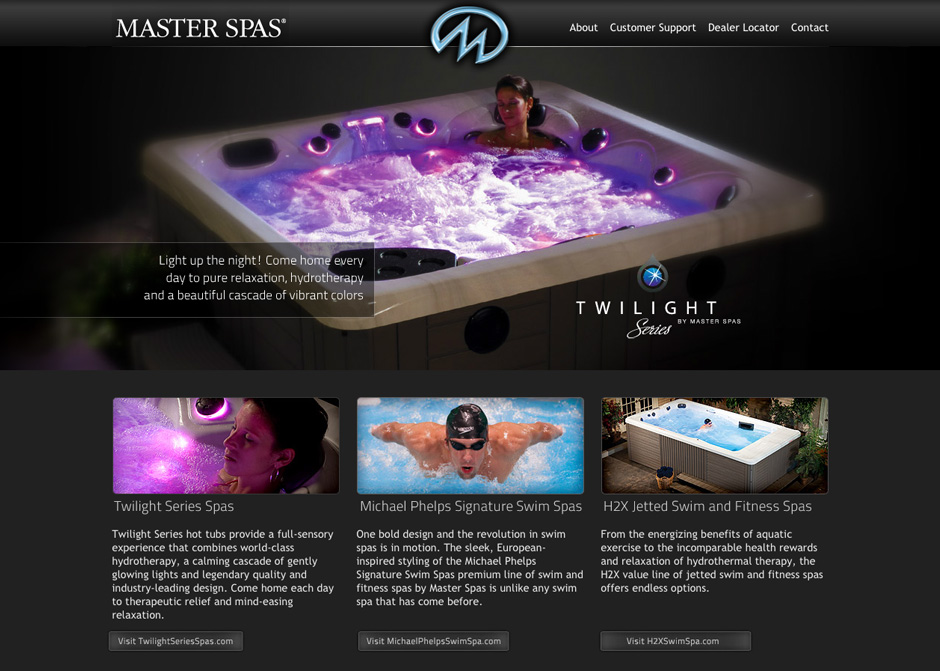 Master Spas Entry Site. Web design by John Stanowski.