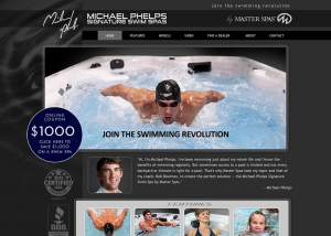 Michael Phelps Swim Spas. Website design by John Stanowski.